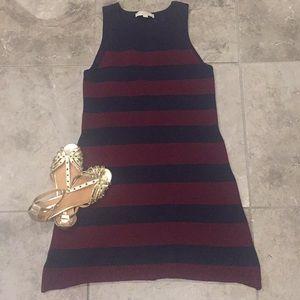 LOFT Wool Maroon & Navy stripe sleeveless dress